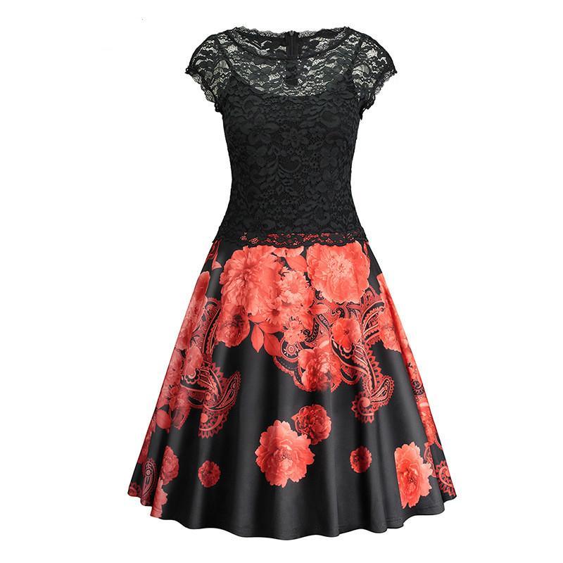 5f0496dffafe Party Prom Ballkleider Frauen Casual Spitze Kleider Kurzarm Zurück  Aushöhlen Drucken Wenig Schwarzes Kleid