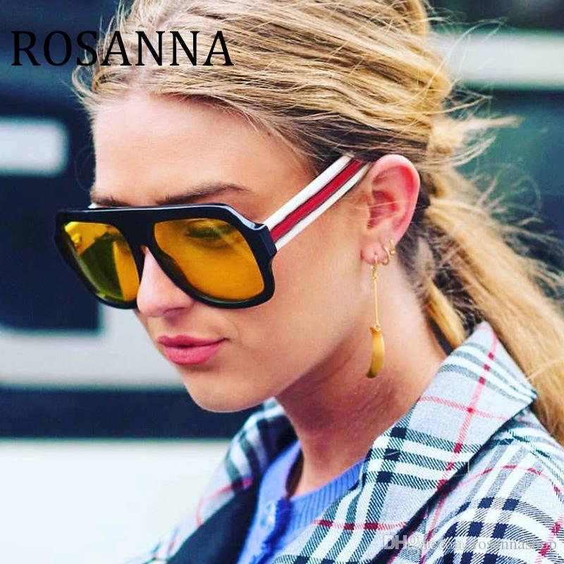 9d61a42c471 ROSANNA 2018 Oversized Flat Top Sunglasses For Women Brand Designer Premium  Square Sun Glasses Men Big Frame Glasses Female Male UV400 Mens Sunglasses  ...