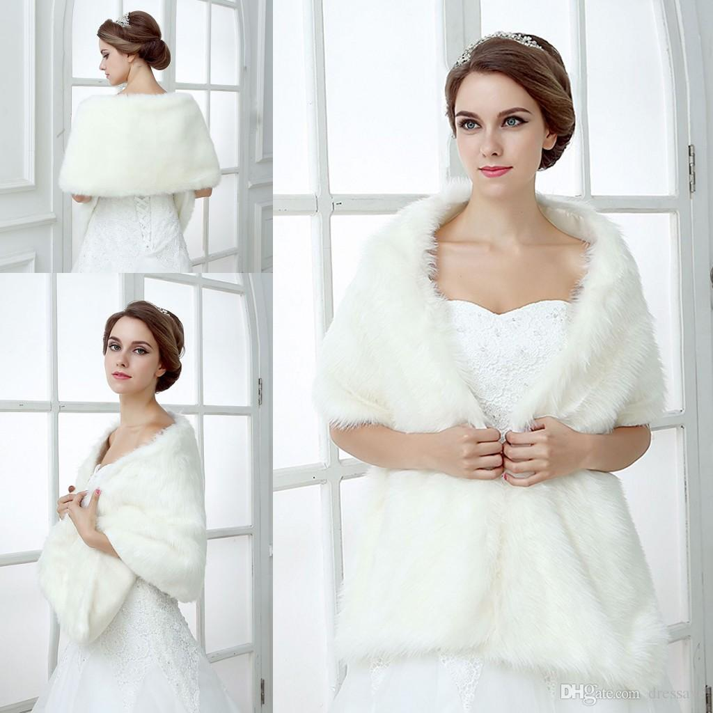 bd769b9eb4 2019 Bridal Wraps Fake Faux Fur Hollywood Glamour Wedding Jackets Street  Style Fashion Cover Up Cape Stole Coat Shrug Shawl Bolero From Dressave, ...