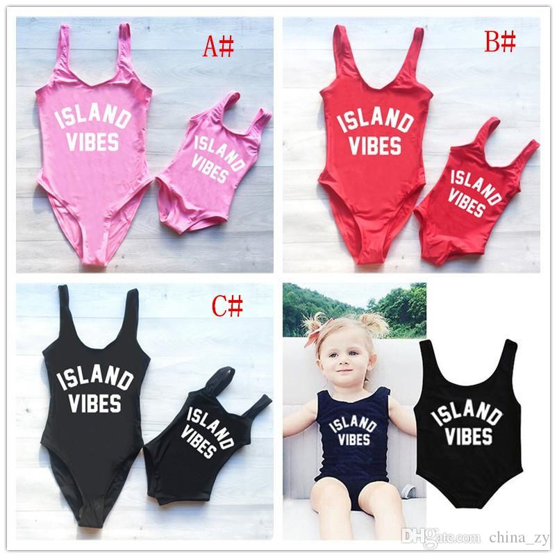 d4886989e Wholesale Family Matching Women Baby Swimwear One Piece Swimsuit Monokini  Letter Printed Bikini Bathing Suit Dresses For Family Pictures Matching Mom  ...