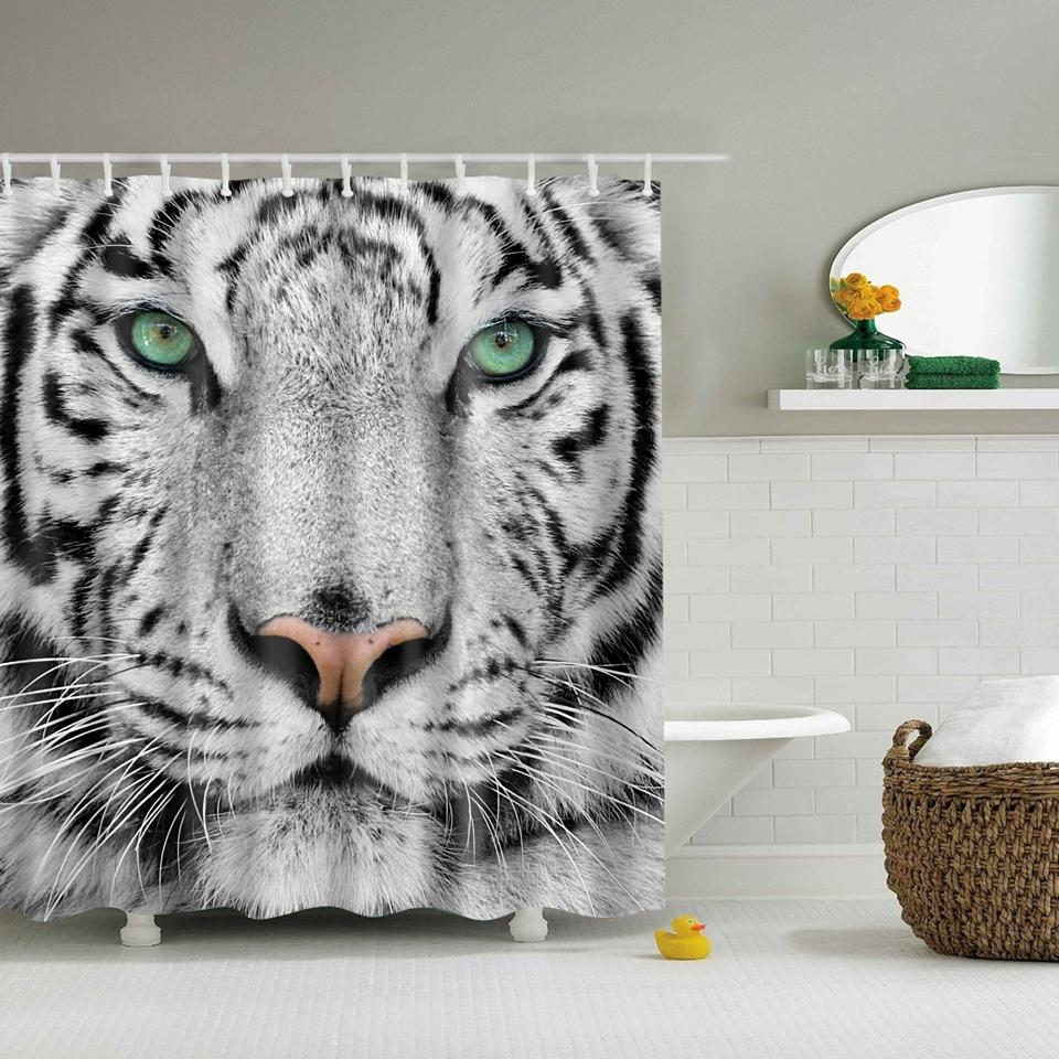 2018 Svetanya White Tiger Print Shower Curtains Bath Products Bathroom Decor With Hooks Waterproof 71x71 From Caley 2378