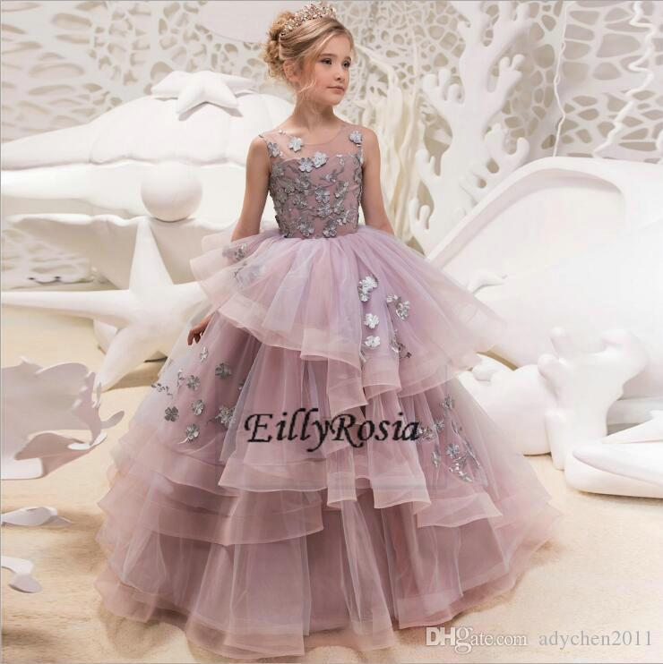 9fda1aaff06 Beautiful Girls Pageant Dresses Teenagers 11 Years Old 2018 Design Ruched  Flower Appliques Ball Gown Flower Girls Dresses Purple Full Glitz Pageant  Dresses ...