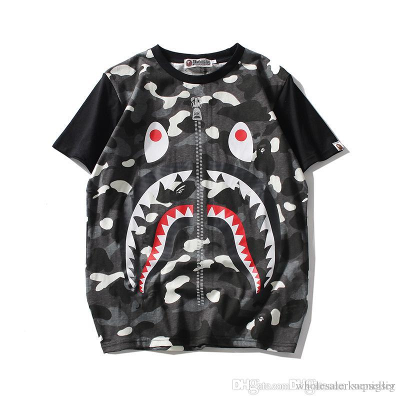 1c8c2928 Mens Shark Mouth Tshirt For Womens And Mens Casual Loose Cotton Short  Sleeve Luminous Camouflage Tshirts For Teenagers Novelty T Shirts Fun T  Shirts From ...