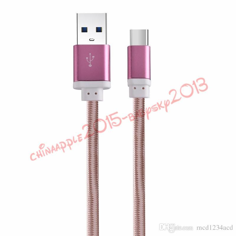 Micro câble usb 1.5M 5ft en aluminium en métal tressé câbles de données de câble de charge de chargeur pour samsung s6 s7 s8 plus htc lg