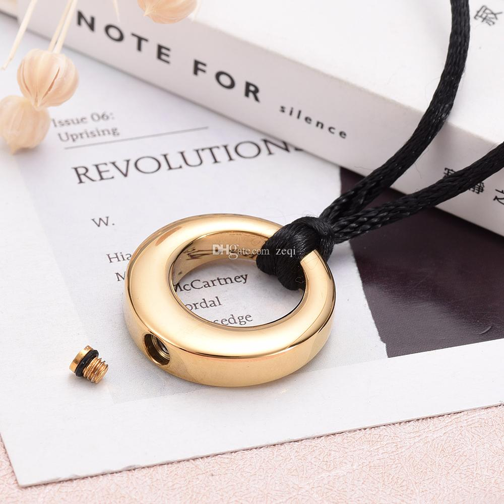IJD9284 Round Keepsake Urn Pendant Necklace Stainless Steel C remation Jewelry Ashes Holder