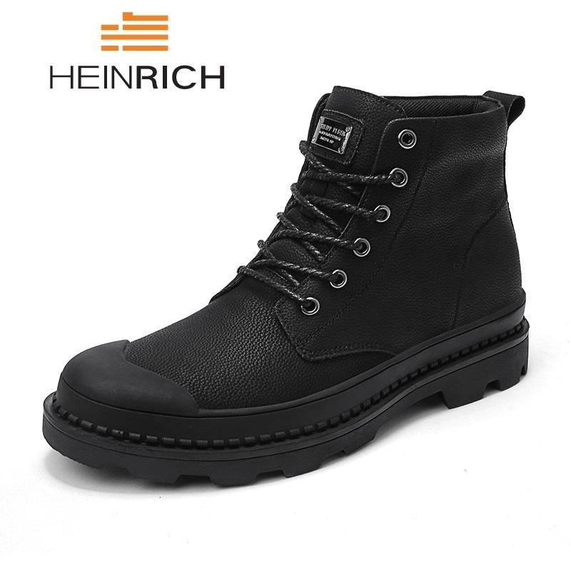 new style 726aa 86775 HEINRICH Boots Men's Genuine Leather Autumn Winter Ankle Boots Men Fashion  Snow Men Botas De Invierno Winterschuhe Herren