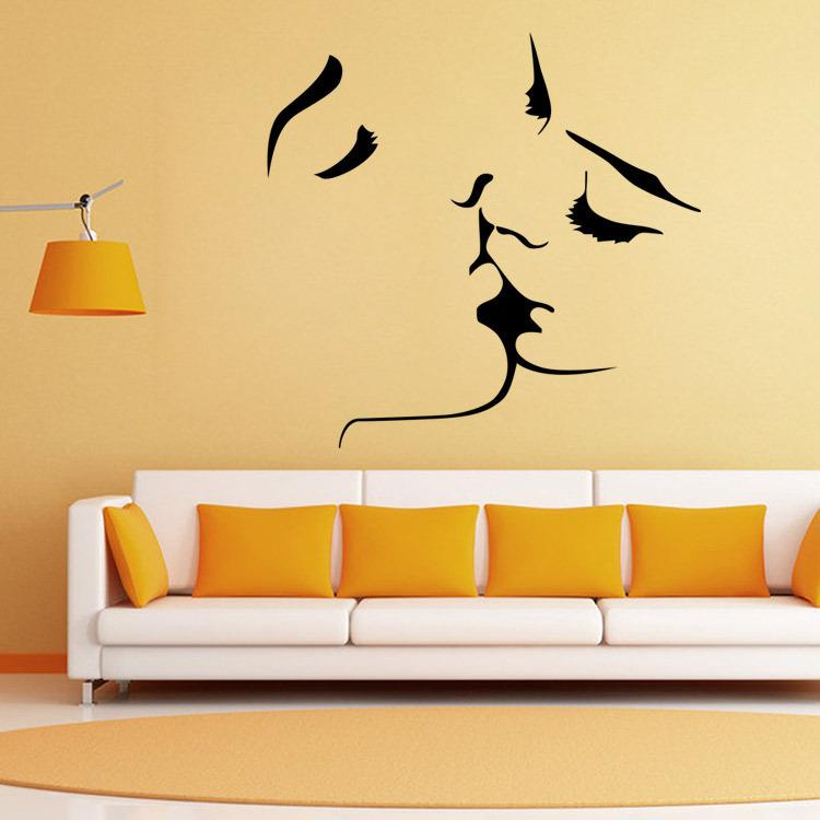Kiss Me Wall Decorative Decal PVC Material Ture Love Wall Art Sticker for Living Room Bedroom Decoration Lover Gift