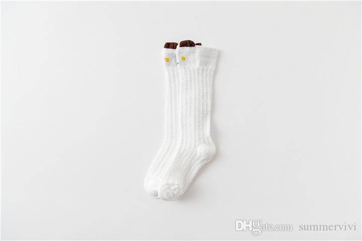 Été bébé dentelle creuse mince chaussettes infantile enfants dessin animé animal stéréo oreilles genou chaussette haute fit 0-1 bébés coton respirant jambes Y4363