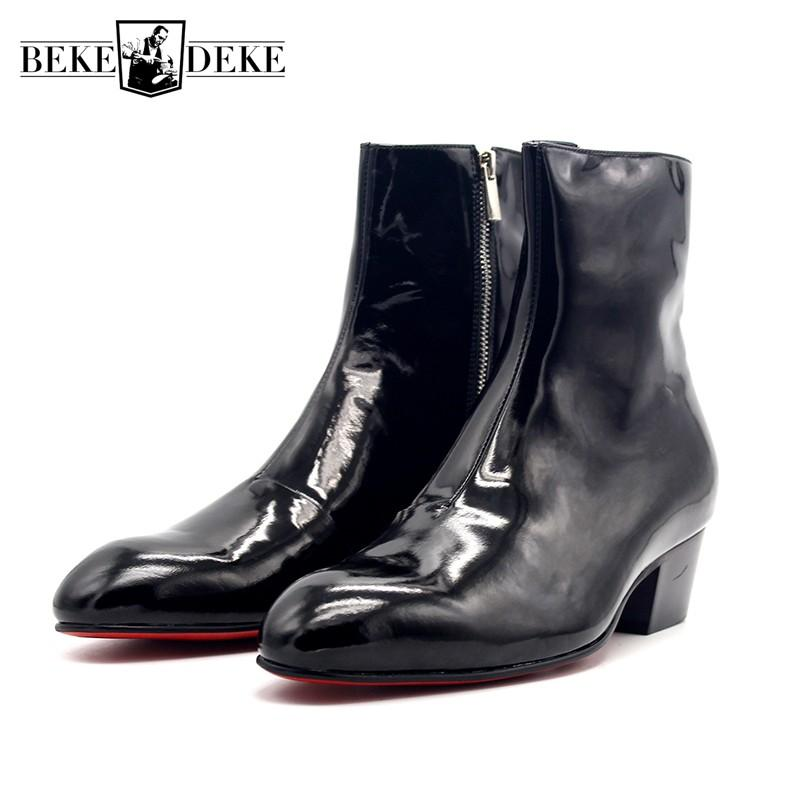 Handarbeit Echtes Top Stiefeletten Motor Winter Leder Italienische Schuhe Heels New Punk Runway Spitz Männer High Reißverschluss Biker Med n0PNO8kXwZ