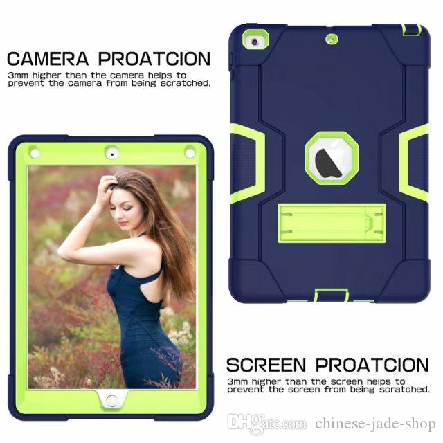 B Typ PC + Silikon Heavy Duty ShocktoFofick Kickstand Hybrid Robot Case Cover för iPad Pro 9.7 Luftluft 2 20st /