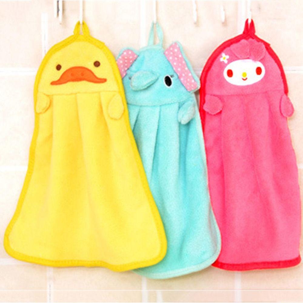 Cartoon Animal Kitchen Hand Towel Bath Hanging Wipe Soft Towel Cute ...
