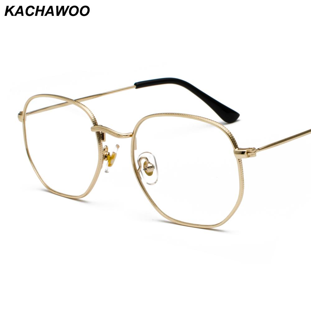 2aab6b4abec Kachawoo Square Eyeglasses Frame for Women Clear Lens Gold Silver ...