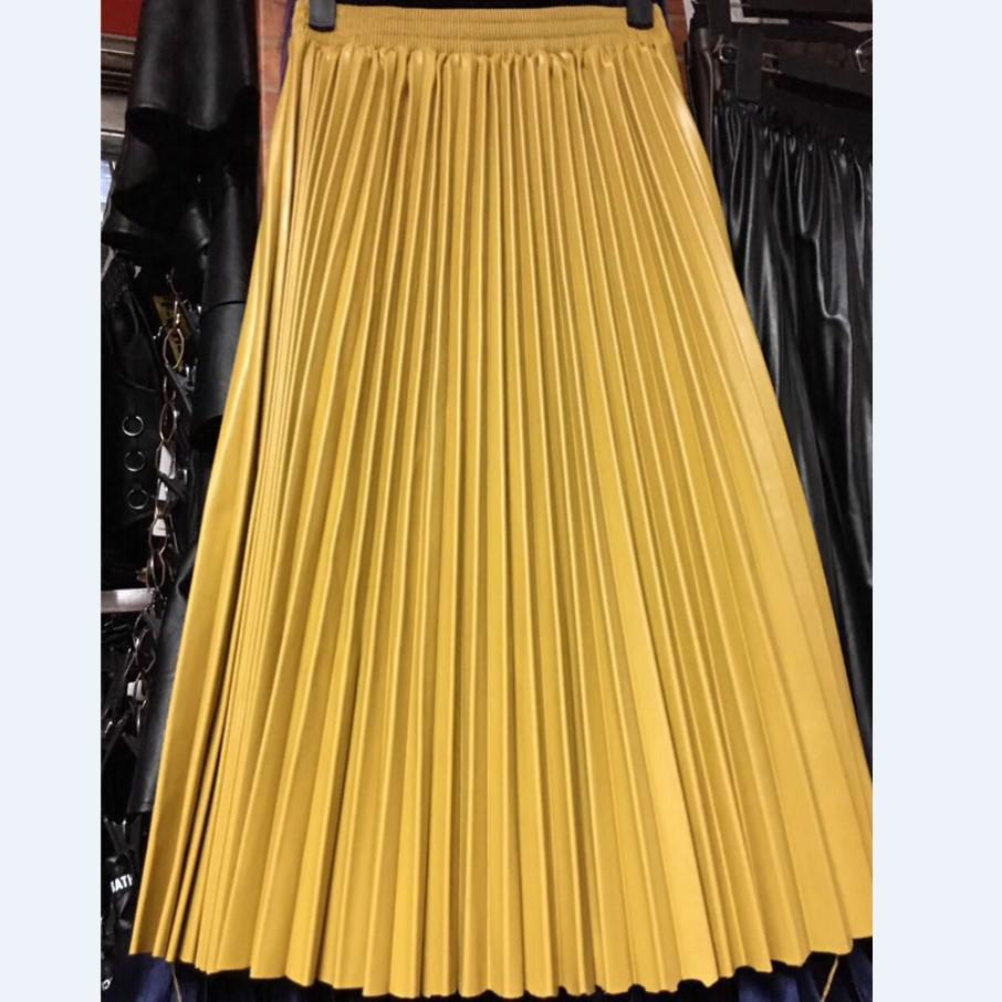 d00b6094d4 PU Accordion Pleated Skirt Autumn   Winter New Style Leather Skirt High  Waist Faldas Largas Elegantes 2017 UK 2019 From Edmund02