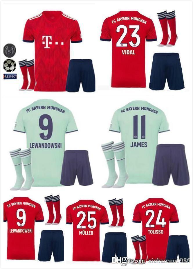 2018 2018 19 Bayern Munich Adult Kits With Socks Home Soccer Jerseys 18 19  James Robben Lewandowski Müller Home Football Shirts From Xiebaoran1986 0c550f577