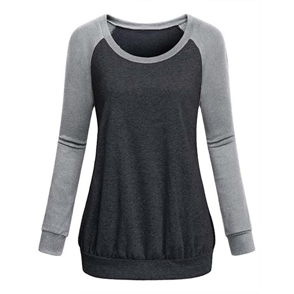 329dd615fcfe 2019 Womens Crew Neck Long Raglan Sleeve Casual Lightweight Pullover  Sweatshirt Tops Women S Stitching Long Sleeved Sweatshirt From Ceciliasa