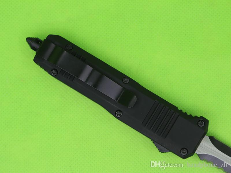 Drop Shipping Black Handle 7 Inch Mini C07 Auto Tactical Knife 440C Double Edge Side Serrated Blade EDC Pocket Knives