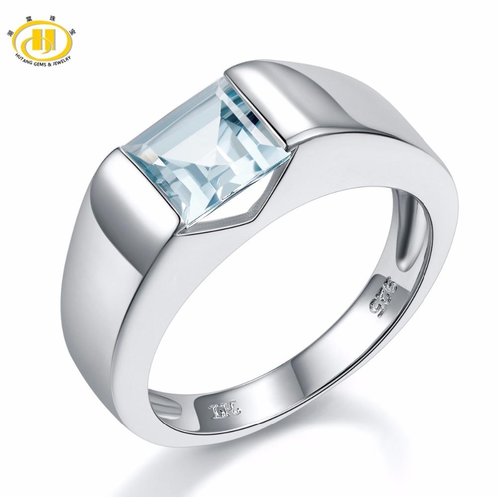 Natural Aquamarine Flower S925 Silver Wedding Ring Jewelry & Watches