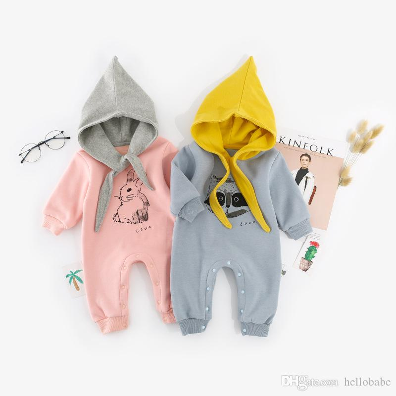 9fbeb16e3431 Baby Hooded Rompers Cartoon Printed Rabbit Fox Design Sharp Caps ...
