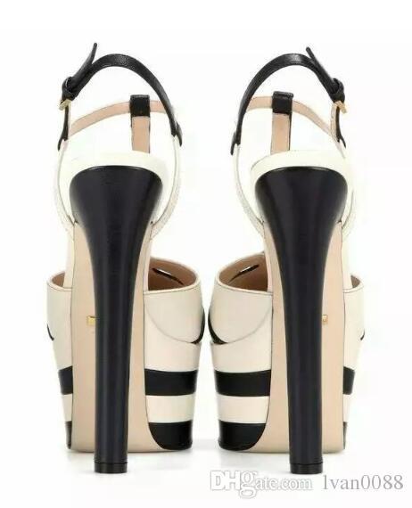 Diseño de cuero para mujer Sandalias Slingback Pumps Zapatillas para mujer Sexy Tacones altos Moda remaches zapatos balck color rojo caja wiith