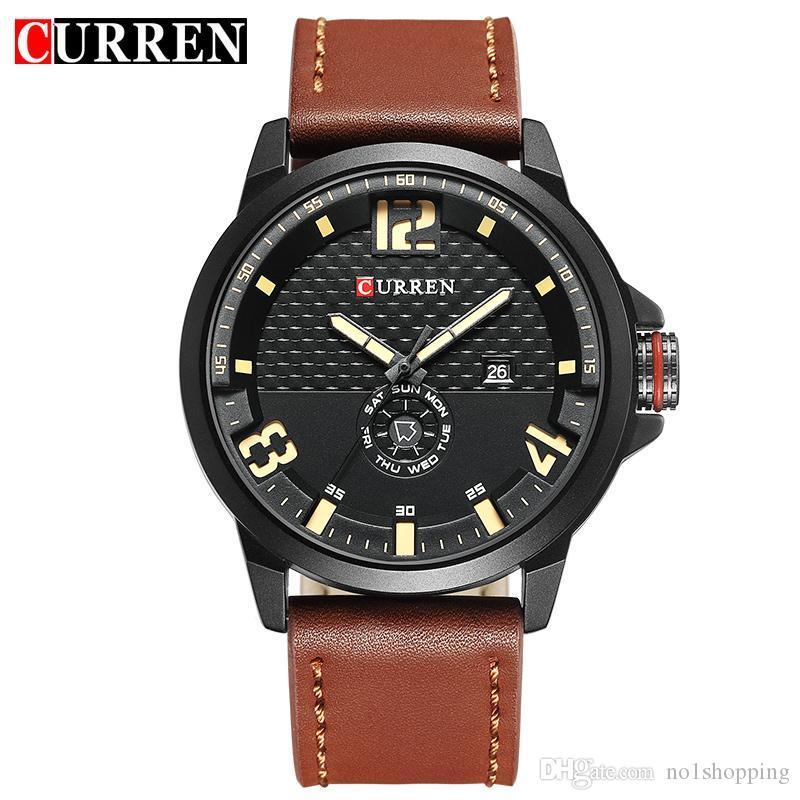 7744fba15fe CURREN Brand 2017 Fashion Casual Quartz Wristwatch Men Leather Strap Round  Quartz Calendar Week Relogio Masculino 8253 Best Watches Sports Watches  From ...