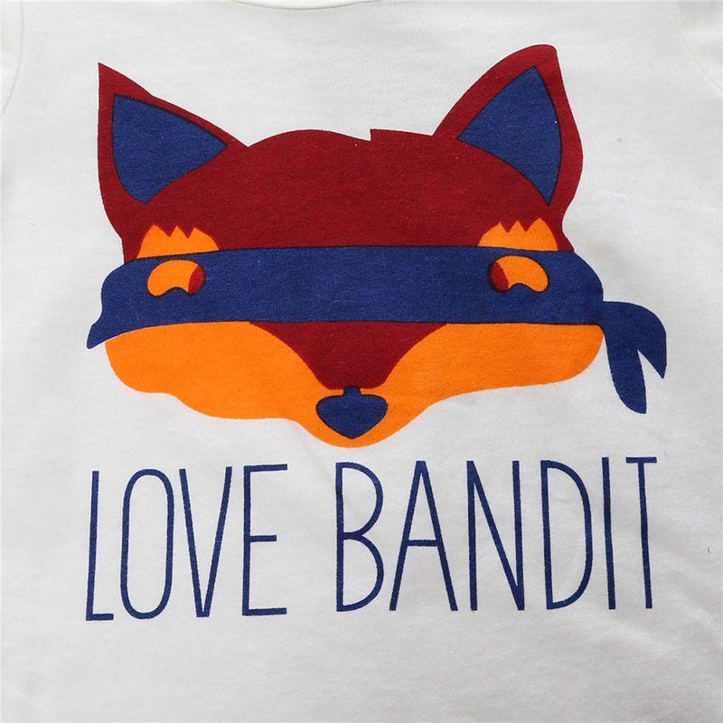 Camiseta infantil de estampado de zorro de algodón para niños + dos piezas de pantalón de ciervo estampado rojo