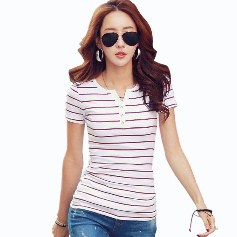 6d4a39734 Compre Camiseta Femme Verão Listrado T Shirt Botão Com Decote Em V Manga  Curta Roupas Femininas Feminino T Shirt Das Mulheres 5xl Plus Size Roupas  De ...