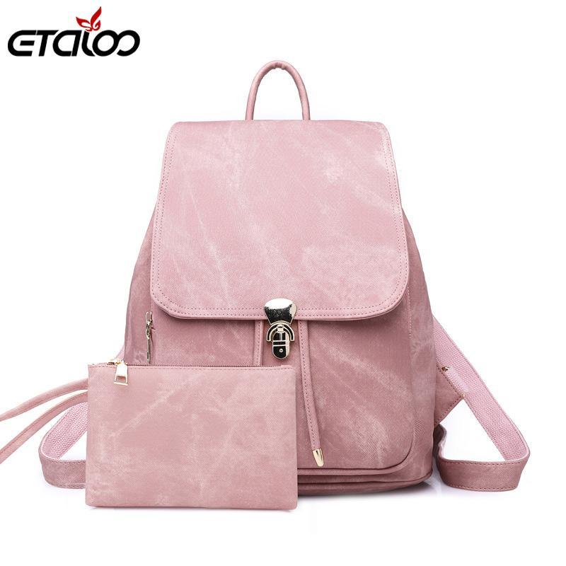 6ca770477c Women Backpack Large School Bags For Teenage Girls Shoulder Bag Vintage Pu  Leather Backpacks Waterproof Casual Solid Rucksack Rolling Backpack Toddler  ...