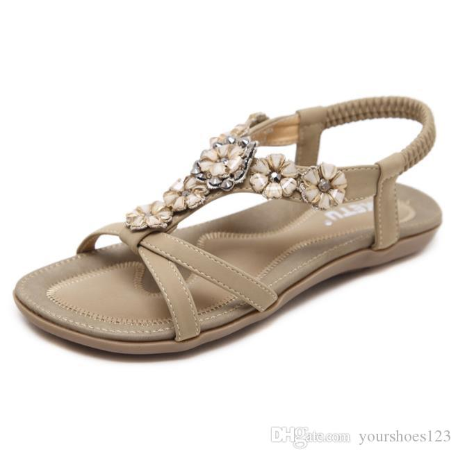 3c129cf54eb 2018 Summer New Fashion Large Size Comfortable Sandals Crystal ...