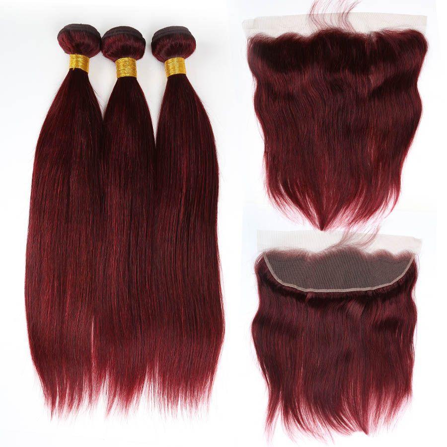 Rojo vino sedoso brasileño sedoso del pelo humano 3 paquetes con frontal 13x4 borgoña 99J extensiones de cabello virgen con cierre frontal superior