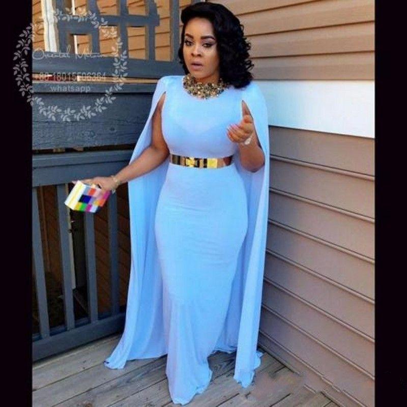 Newest African Long White Evening Dresses with Cape Gold Belt Vestido de festa Mermaid Prom Dresses for Black Girls BA5196