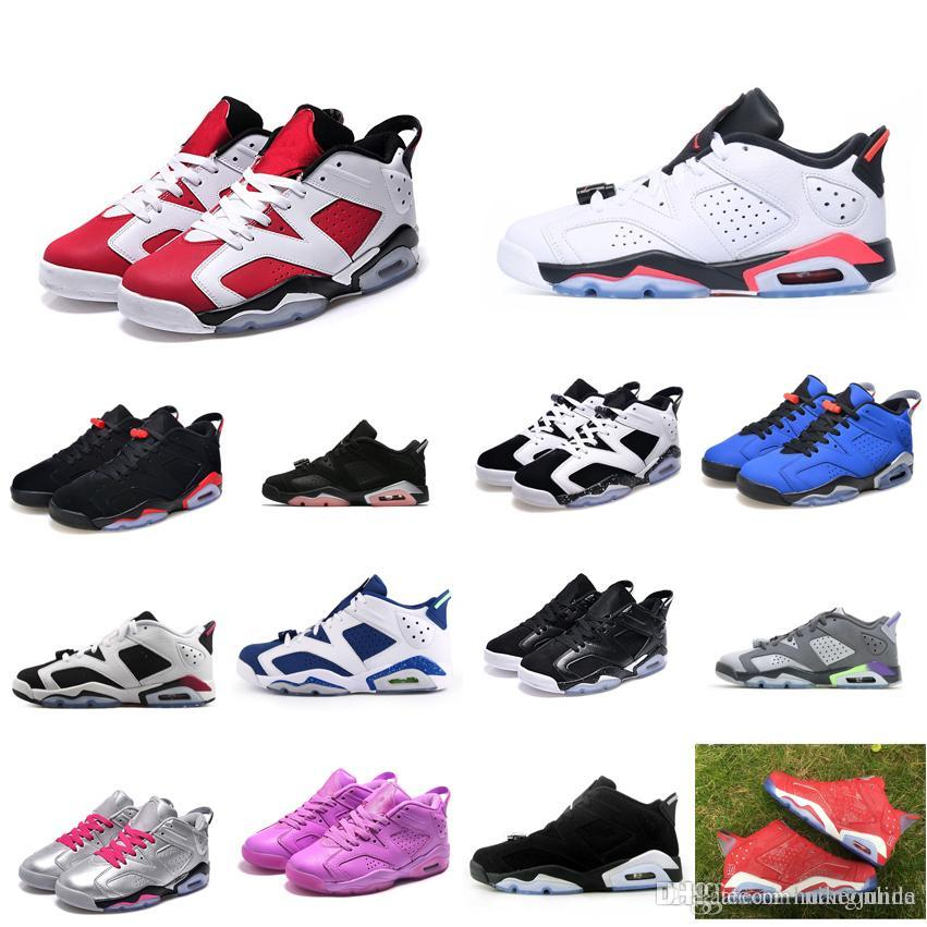 f962a7175e7bfe 2019 Womens Retro 6s Low Basketball Shoes J6 Oreo Black Infrared White Blue  Silver Chrome Boys Girls Youth Kids Jumpman VI Aj6 Sneakers With Box From  ...