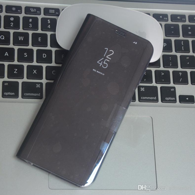 إلى Samsung Galaxy Note 8 S8 S7 S6 edge Case Luxury Flip Stand Clear View Case مرآة الذكية لسامسونج S8 Plus