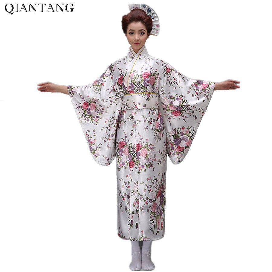 1c31b980767aa Weiß Vintage japanische Frauen Kimono Yukata Haori mit Obi Abendkleid  Leistung Kostüm Classic Asia Kleidung eine Größe H0044