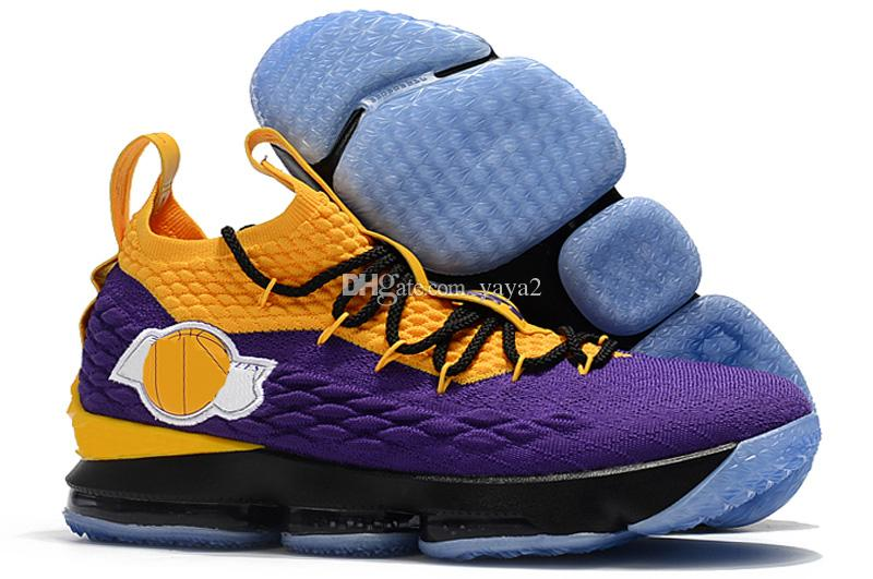 ac6769ed435 LeBron 15 Lakers Shoes South Beach James 1 Sneakers Lbj 15 Handmade ...