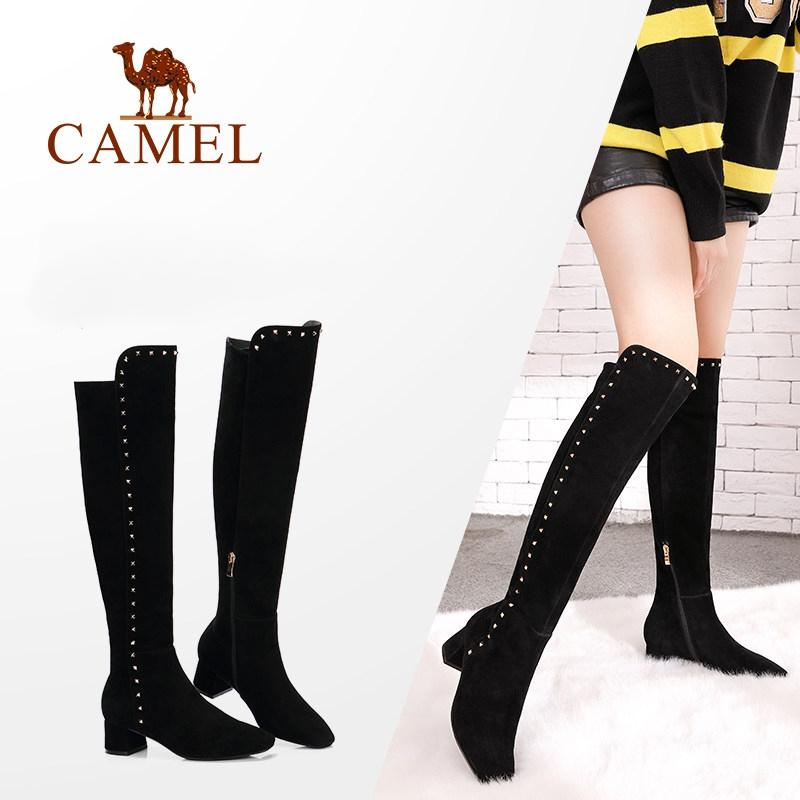 4cdfc70f83f3 CAMEL Over The Knee High Winter Thigh High Boots Women Shoes Fashion Rivet  Suede Warm Round Toe Heel Woman Plush Long Boots Boots For Girls Fur Boots  From ...