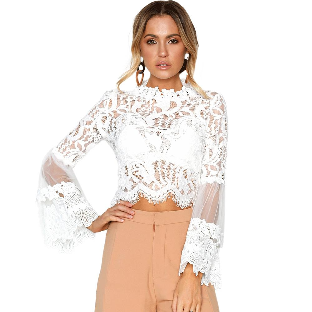 573b650b882105 2019 Sexy Women Floral Lace Top Layered Flare Sleeve Lace Blouse See  Through Mesh Long Sleeve Elegant Slim Fit Summer Crop Top White From  Jamie07
