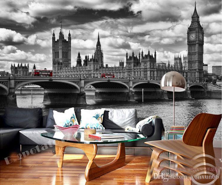 Wholesale England City scenery black&white Big Ben photo mural wallpaper for living room background 3d wall mural vinyl fresco