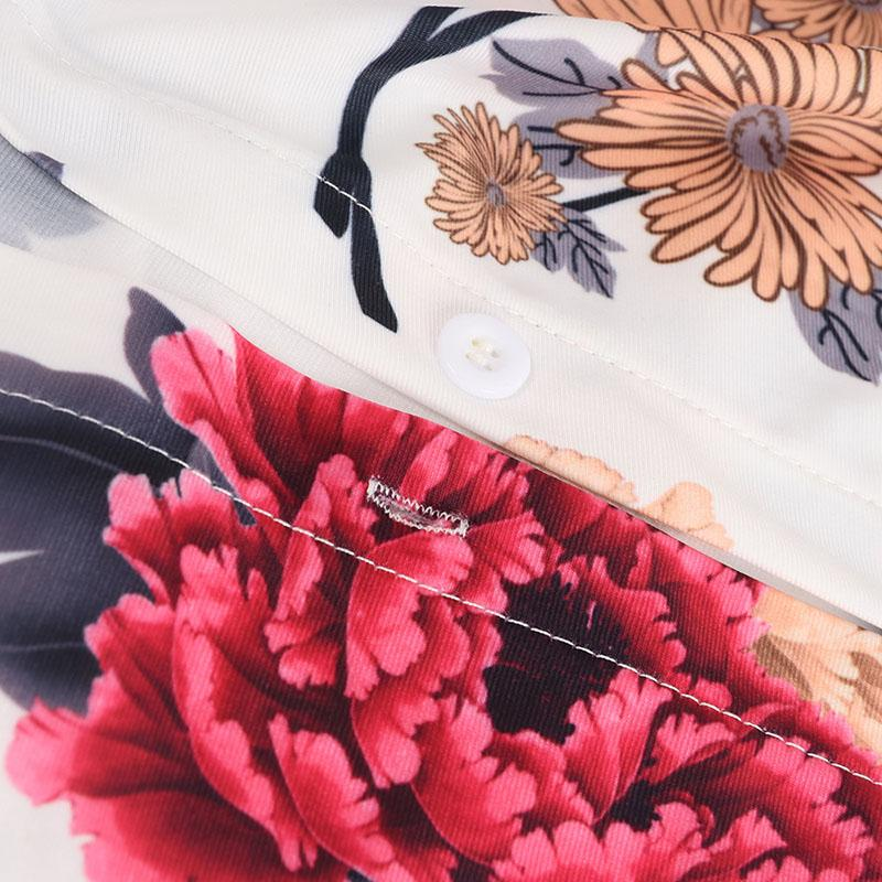 Fashion V-Neck Floral Women Cardigan Dress Long Sleeve Blouses Shirt Dress Club Bandage T shirt Dresses With belt