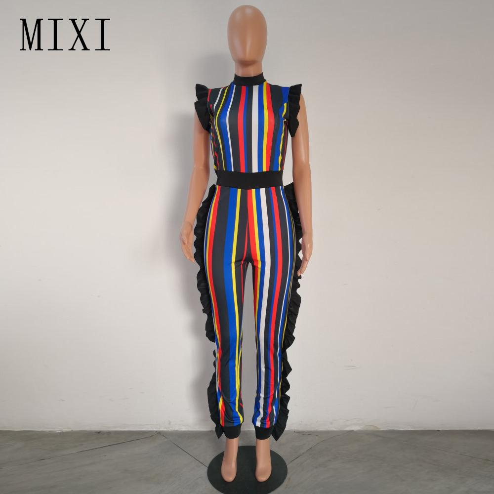 MIXI Ruffle rayé Jumpsuit manches d'été Parti Salopette maigre Tenues streetwear élégant Casual Barboteuses Femmes Jumpsuit