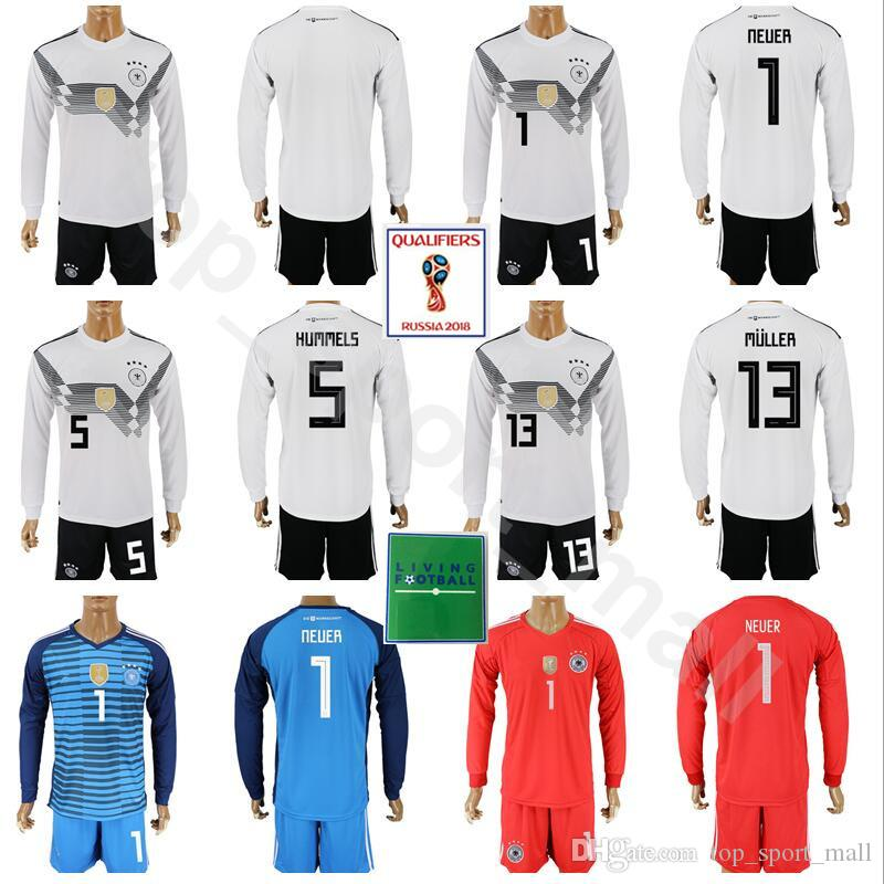 c4154b9d2c0 2019 World Cup 2018 Germany Long Sleeve Jersey Set Soccer 1 Manuel Neuer 5  Mats Hummels 13 Gerd Muller Football Shirt Kits Patch With Short Pant From  ...