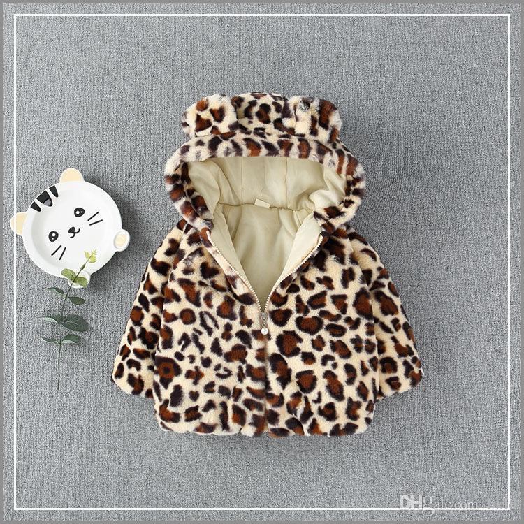 e5076a832 Winter Children Coat Leopard Faux Fur Hooded Coat Jacket Baby Girl ...