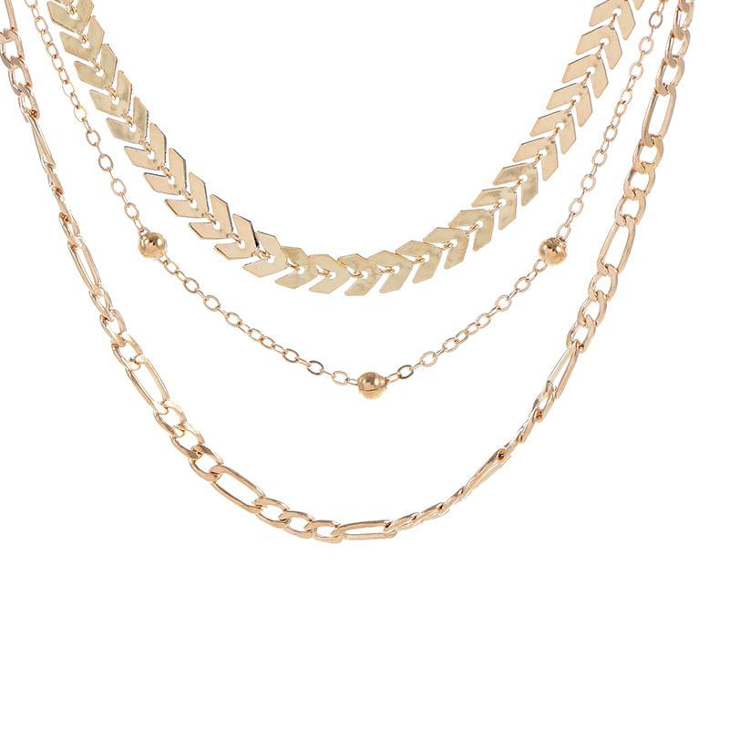 Hot Sale Women Necklace Jewelry Gold Bead Chain Necklace Simple Link Chain Choker 3 Group XL565