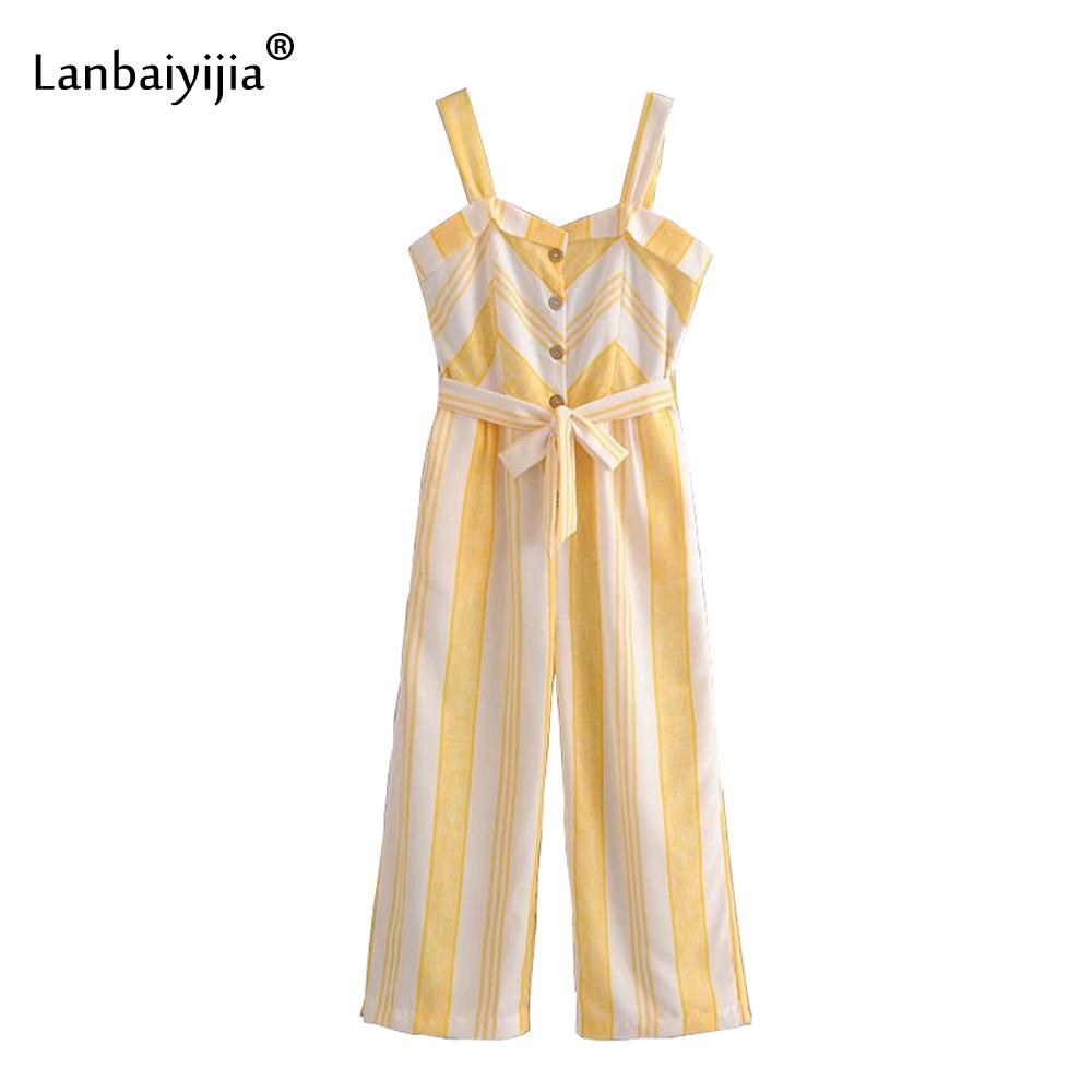 337b564343dcce 2019 Lanbaiyijia Newest Striped Jumpsuits Women Jumpsuits Single Breasted  Bowknot Sashes Suspenders Jumpsuit Loose Summer Jumpsuit From Silan, ...