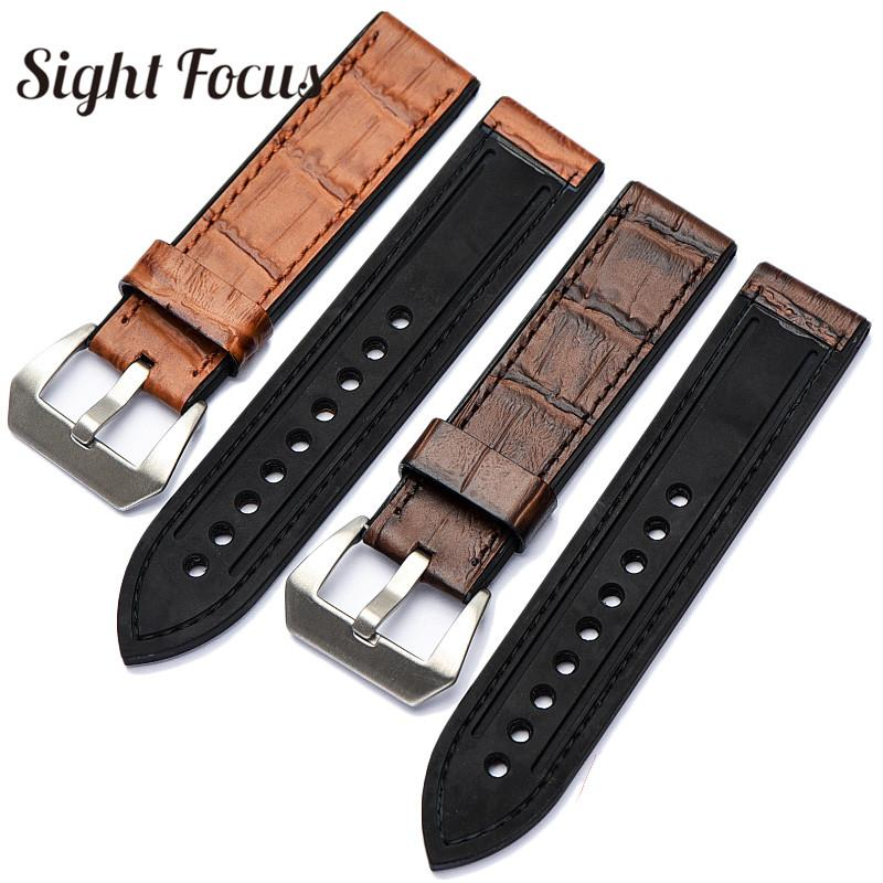 39d46562d1c Top Leather Bottom Rubber Watch Band Strap For Watch Belt Men 20 22 24 26mm  Male Bracelet Accessorie For Pam Strap Alligator Watch Bands Debeer Watch  Bands ...