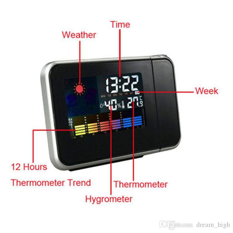 디지털 LCD 프로젝션 책상 시계 날씨 다기능 자명종 컬러 스크린 캘린더 홈 데스크 탁상 시계