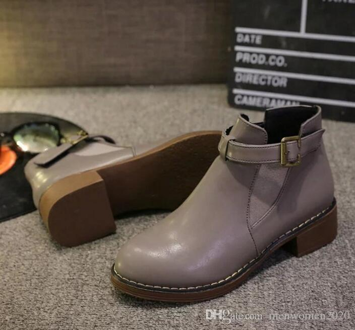 c7e00756497 ankle boots ladies Fashion Women Low Ankle Trim Round Toe Ankle Leather  Boots Casual Martin Shoes