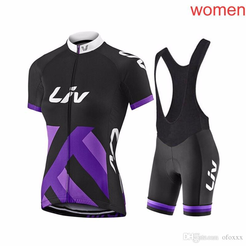 Summer LIV Women Cycling Jerseys Ropa Ciclismo MTB Bike Shirts Bib Shorts  Set Racing Clothing Bicycle Top And Short Kit F2623 Liv Cycling Jersey Set  2018 ... 6cffc4170