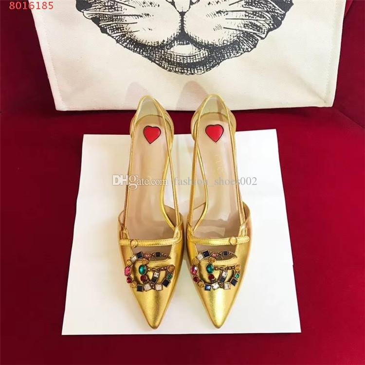 Top-Qualität Luxus Designer Frauen Metallic Leder Pumpe niedrigen Absatz Bambus Effekt High Heels Sandalen Schuhe, Point Toe, Gold Silber schwarz Eu 35-39