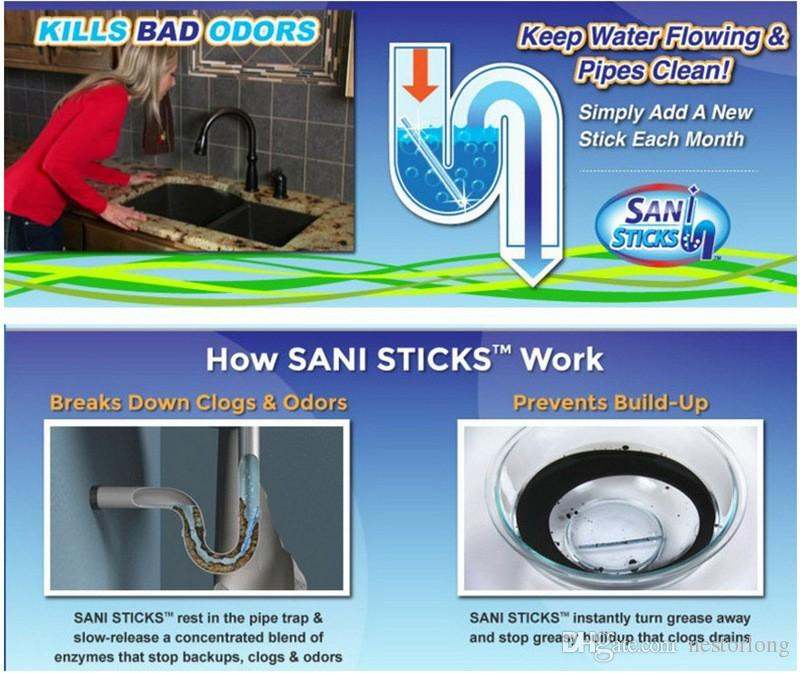 12 / set Sani Sticks Decontaminazione dell'olio The Kitchen Toilet Vasca da bagno Drain Cleaner Sewer Cleaning Rod Convenient Sewer Hair Clear