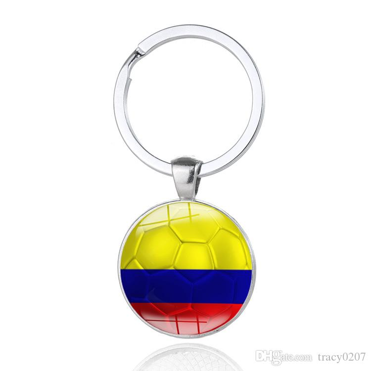 Russia 2018 World Cup Football Keychain Flag Pattern Football Alloy glass patch key ring Creative jewelry